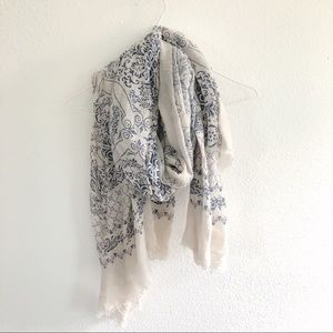 Cream and blue paisley scarf